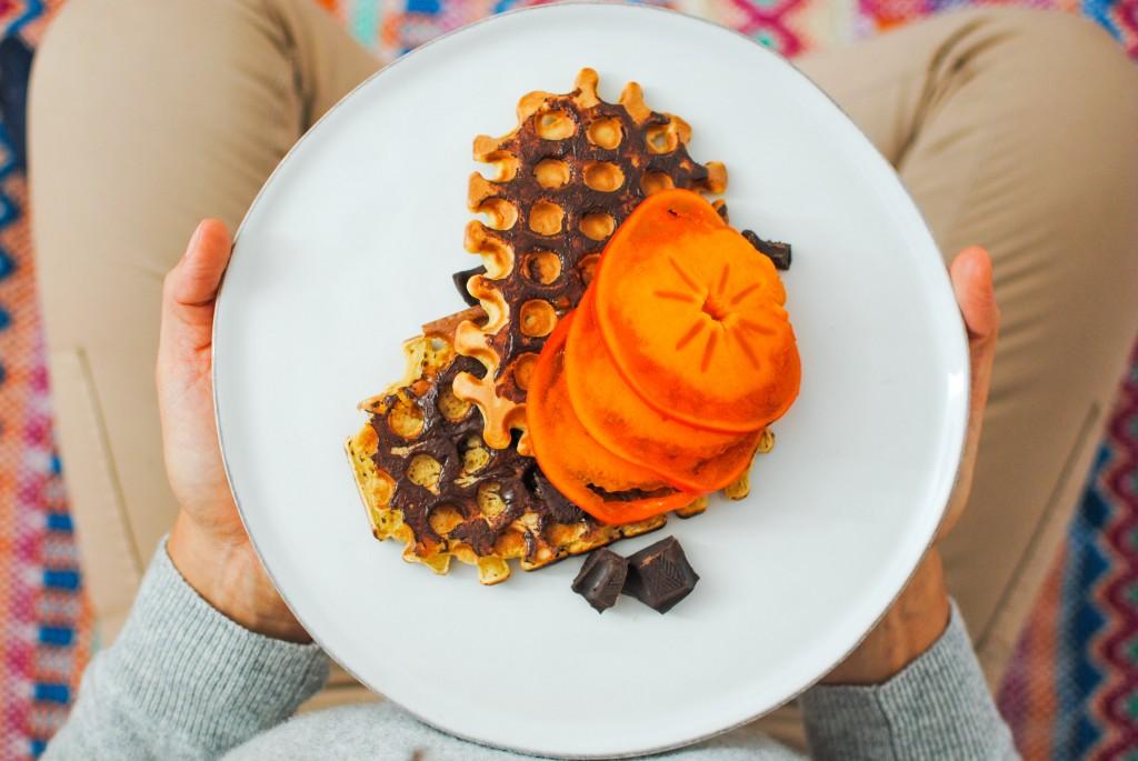 waffles barrados com chocolate | chocolate rubbed waffles