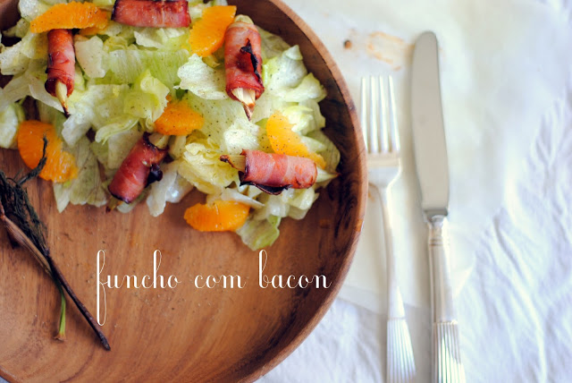 Salada de funcho, bacon e laranja