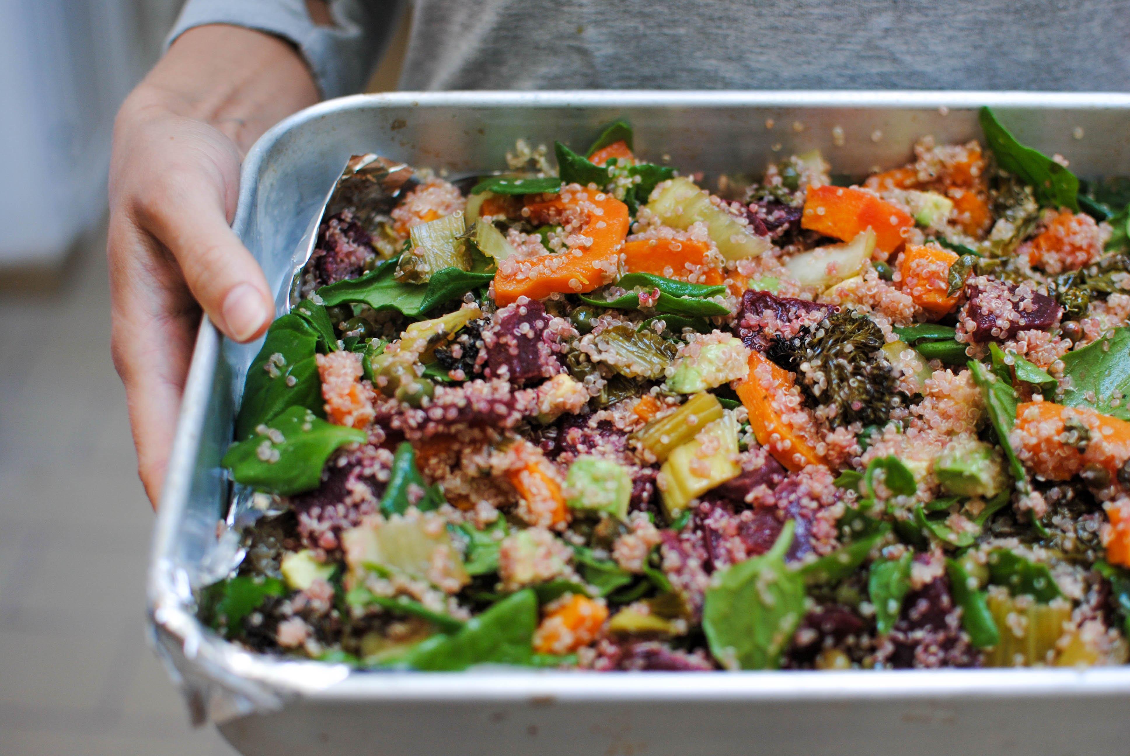Quinoa, Legumes assados e Espinafres
